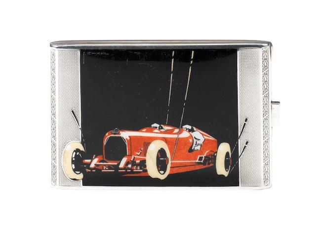 A fine and rare Austro Daimler silver and enamel cigarette case, Austrian, circa 1928,