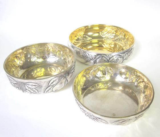 Three 20th century Italian silver  fruit bowls by Brandimarte, Florence