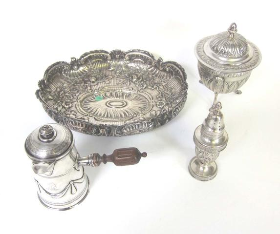 A 19th century French silver bachelor's coffee pot maker's mark indistinct  (4)