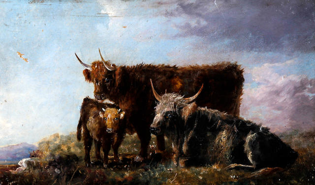 C.W. Oswald (British, active 1890-1900) Highland cattle grazing in a mountainous valley landscape