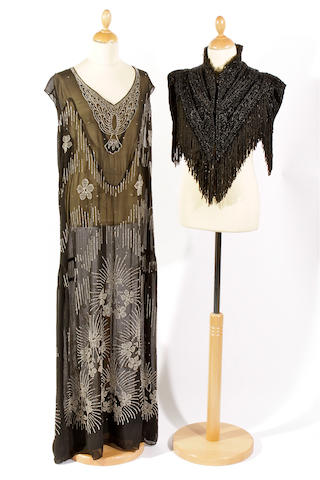 A 1920s beaded flapper dress and an Edwardian cape