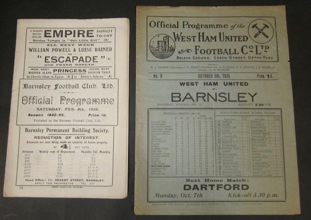 1935/36 Barnsley v West Ham home and away programmes