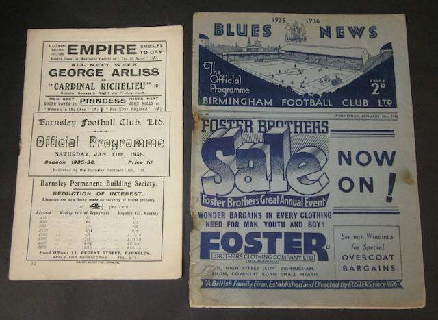 1935/36 Barnsley v Birmingham home and away programmes