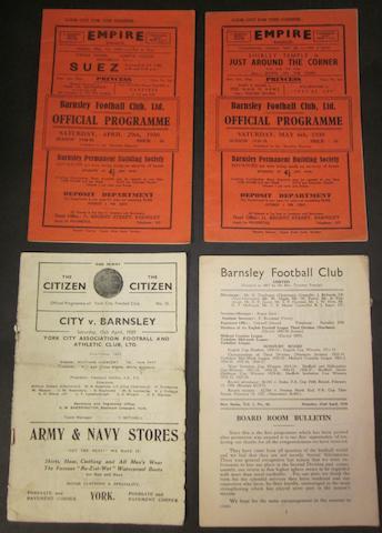 1938/39 Barnsley home and away programmes