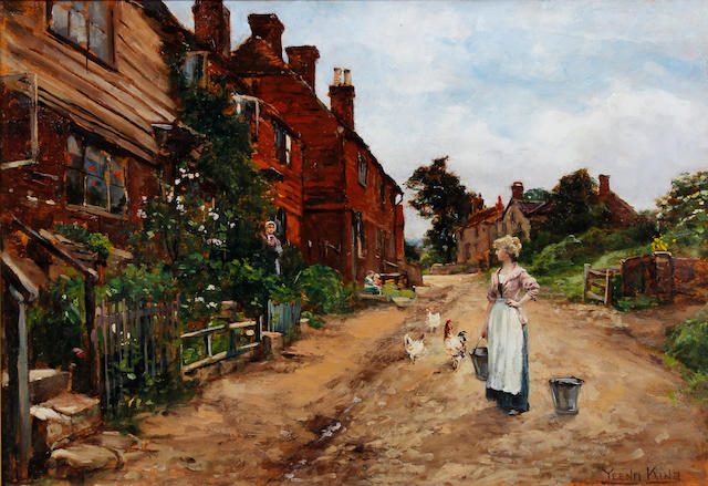 Henry John Yeend King (British, 1855-1924) Village lane with young maid feeding chickens