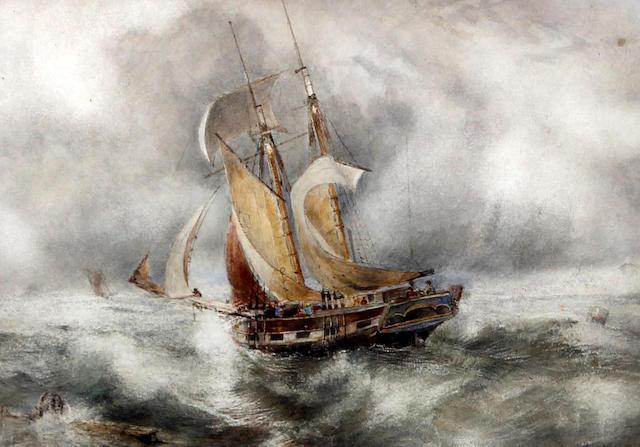 William Joseph Julius Caesar Bond (British, 1833-1926) Sailing boat in rough seas