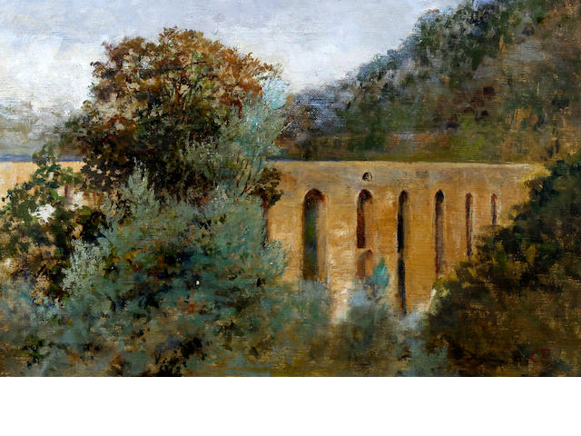 Follower of Lucien Pissarro (British, 1863-1944) Landscape with arched viaduct