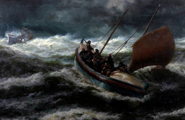 Thomas Rose Miles (British, active 1869-1906) 'Saved' - Lifeboat in stormy seas