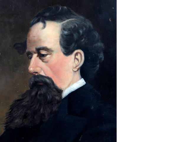British School, (mid 19th century) Portrait of Charles Dickens, head and shoulders