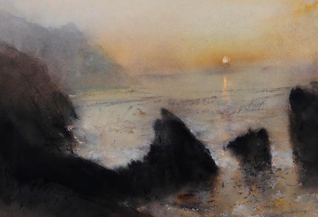 William Selwyn (British, 1933) 'Cliffs at Trefor'