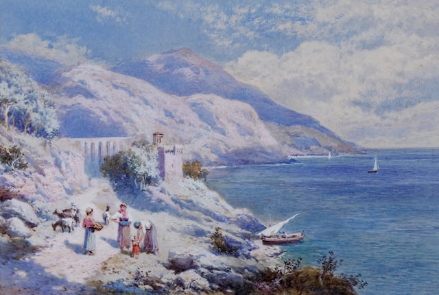 Charles Rowbotham (British, born circa 1856-1921) 'Above Passolipo Bay of Naples' and 'On the Coast of Genoa', a pair