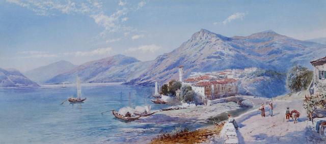 Charles Rowbotham (British, born circa 1856-1921) Italian lakeside town with figures and boats