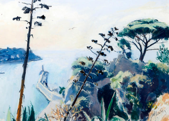 John Blandy (British), (20th century) 'Overlooking Nice Port from the Chateau'