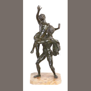After Giambologna, Italian (1521-1608) A 19th century Italian bronze group of the Rape of a Sabine