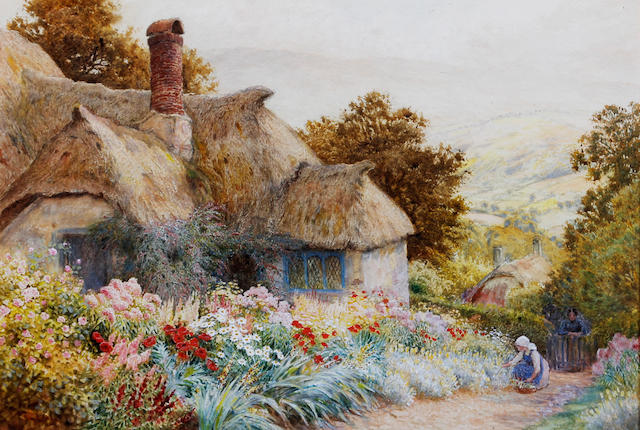 Arthur Claude Strachan (British, 1865-1938) 'Cottage at Selworthy near Minehead'