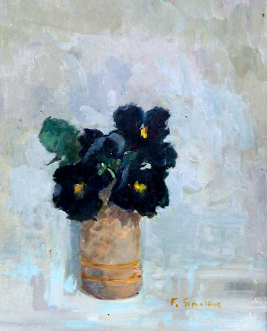 Frances Sinclair (British, active circa 1980-circa 2000) 'Black Pansies'