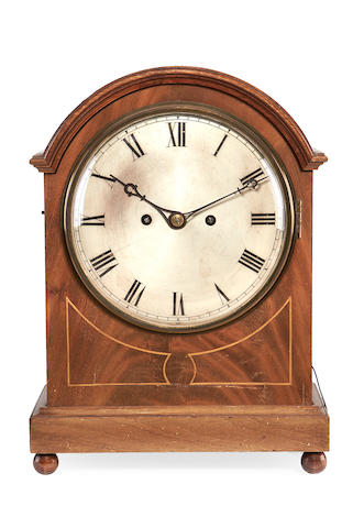 A Regency mahogany quarter chiming bracket clock