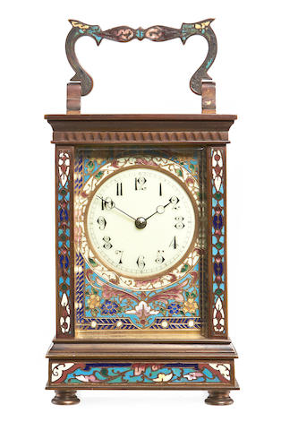 A late 19th century French cloisonné enamel carriage clock