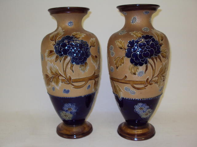 A pair of Royal Doulton Slaters Patent vases