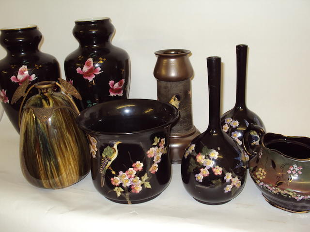 A collection of Bretby vases