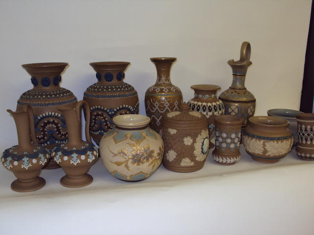 A collection of Doulton Lambeth Silicon vases and pots
