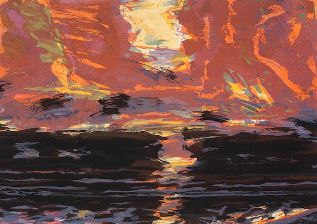 John Houston, 1930-2008, Scottish ' Sunset over the sea '