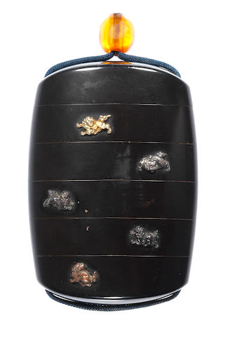 An inlaid black lacquer five-case inro By Goto Mitsuyoshi (1783-1835), 19th century