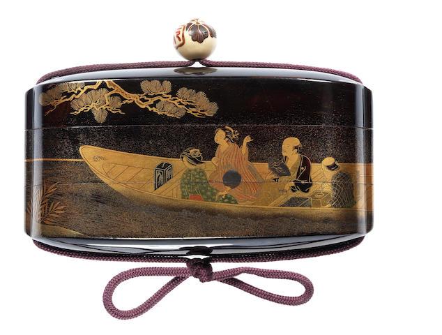 A rare black lacquer two-case inro By Shiomi Masanari, late 18th/early 19th century