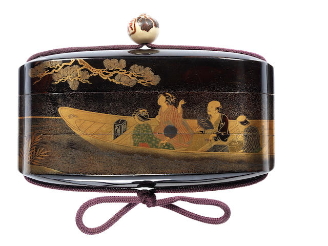 A rare black lacquer two-case inro By Shiomi Masanari, late 18th/early 19th century