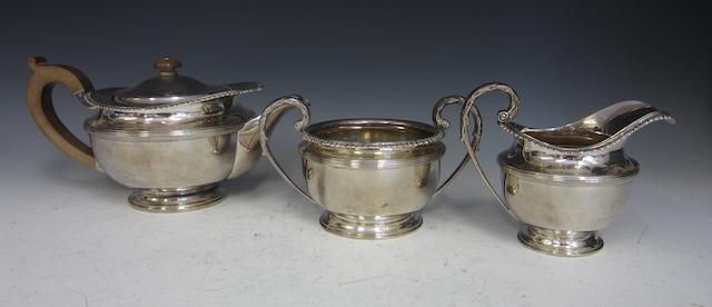 A silver three piece tea service London 1937  (3)