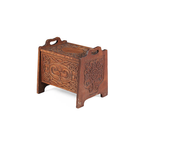 Attributed to Alexander Ritchie of Iona An Arts and Crafts oak slipper box