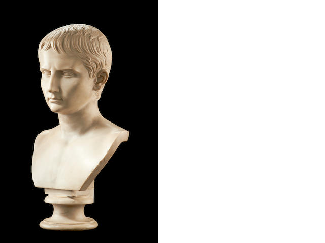 After the Antique: A simulated marble bust of Caesar Augustus