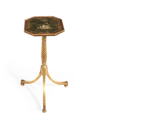 A Regency giltwood and polychrome decorated tripod table/polescreen