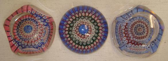 Two Scottish concentric Millefiori paperweights, one Commemorating the Coronation of Elizabeth II 1953, the other dated 1970, 8cm, and a further Scottish paperweight Commemorating The Coronation.(3)