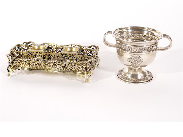 A George III silver-gilt inkstand  maker's mark partly visible London 1764 (hallmarked to base only)  (2)