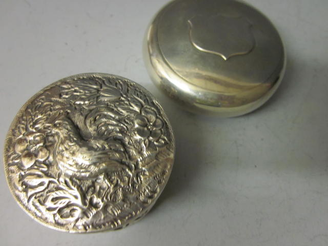 An Edwardian silver tobacco box by Saunders and Shepherd, Birmingham 1902  (2)