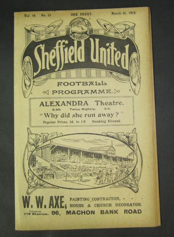 1912 Barnsley v Bradford F.A. Cup quarter final replay football programme