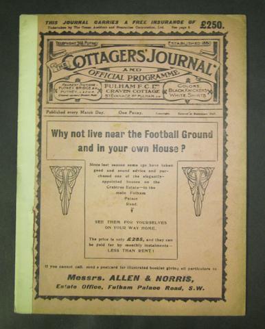 1913 Fulham v Barnsley football programme