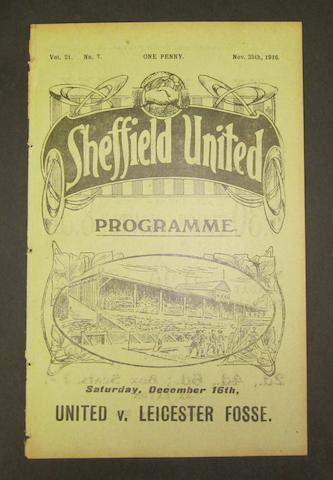 1916 Sheffield United v Barnsley programme