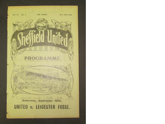 1916 Sheffield United v Barnsley programme