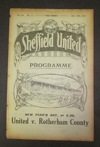 1917 Sheffield United v Barnsley programme
