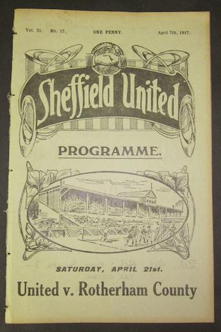 1917 Sheffield United v Barnsley football programme