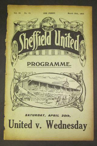 1918 Sheffield United v Barnsley programme