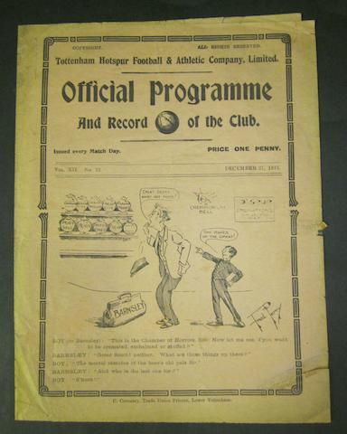 1919 Tottenham Hotspurs v Barnsley football programme
