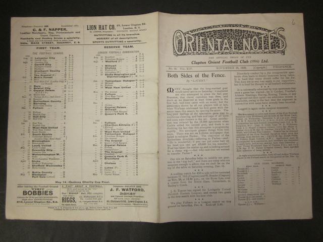 1920 Orient v Barnsley programme