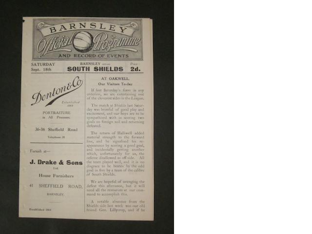 1920 Barnsley v South Shields programme