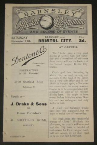 1920 Barnsley v Bristol City football programme