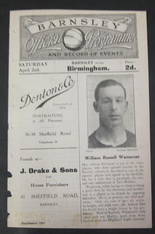 1921 Barnsley v Birmingham programme