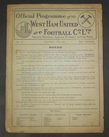 1921 West Ham v Barnsley programme