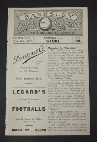 1922 Barnsley v Stoke programme